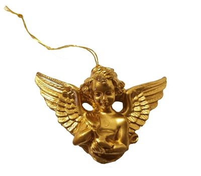 "2"" Miniature Gold Cherub Angel Petting Bird Christmas Ornament"