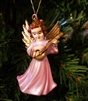 "2"" Miniature Pink Painted Plastic Angel Christmas Ornament"