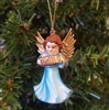 "2"" Miniature Blue Painted Plastic Angel Christmas Ornament"