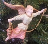 "5"" Antiqued Plaster Flying Angel Christmas Ornament"