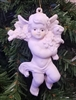 "4"" Faux Ceramic Plaster Cherub Angel Christmas Ornament"