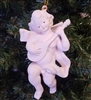 "5"" Faux Ceramic Plaster Cherub Angel with Guitar Christmas Ornament"