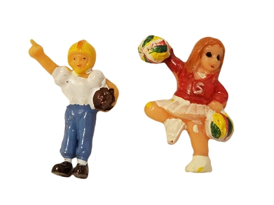 Miniature Plastic Cheerleader & Football Player Set
