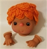 Large Vinyl Orange Yarn Doll Head with Hands