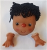 Vinyl African American Black Yarn Doll Head with Hands