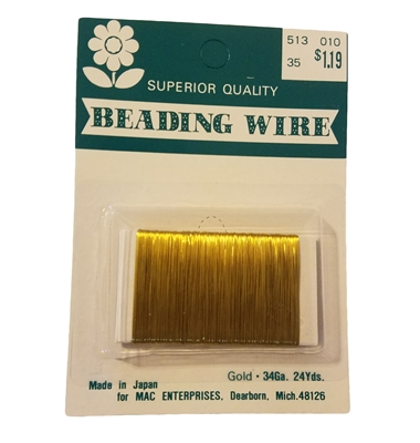 34 Gauge Gold Beading Wire, 24 yards