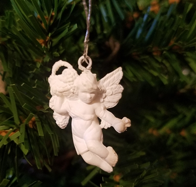 "1-1/4"" Miniature White Angel with Fruit Basket Christmas Ornament"