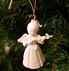 "1-1/2"" Miniature White Angel with Violin Christmas Ornament"