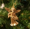 "1-1/2"" Miniature Gold Angel with Accordion Christmas Ornament"