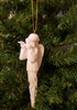 "6"" White Porcelain Angel with Flute Icicle Christmas Ornament"