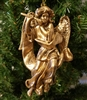 "6"" Antiqued Gold Angel with Flute Christmas Ornament"