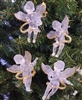 "Set of 4 Gold Glittery Frosted Plastic 3-1/2"" Musical Angel Christmas Ornaments"
