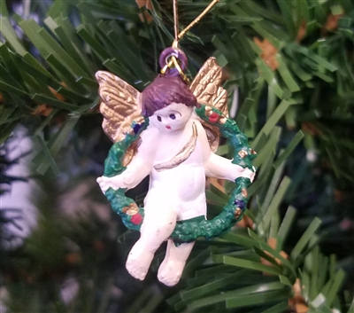 "1-1/4"" Angel in Wreath Christmas Ornament"