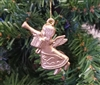 "1-3/4"" Gold Plastic Angel with Trumpet Christmas Ornament"