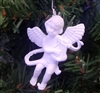 "2"" White Plastic Angel with Harp Christmas Ornament"