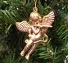 "2"" Gold Plastic Angel with Flute Christmas Ornament"