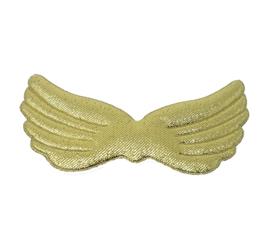 "Pair of 3"" Metallic Gold Padded Fabric Angel Wings"