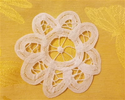 "4"" Battenburg Lace White Round Crochet Doilies, 12 ct"