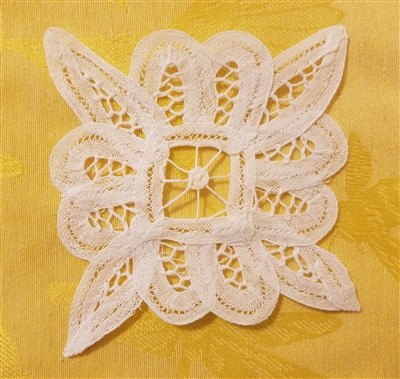 "4"" Battenburg Lace White Square Crochet Doilies, 12 ct"