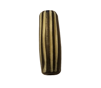 24mm Black & White Striped Hand-Carved Genuine Bone Horn Beads, 4 ct Bag