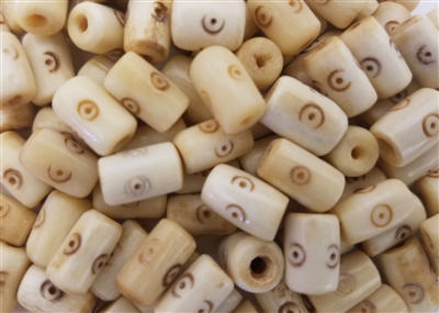 11mm Oval Circle Dot Pattern Genuine Bone Beads, 12 ct Bag