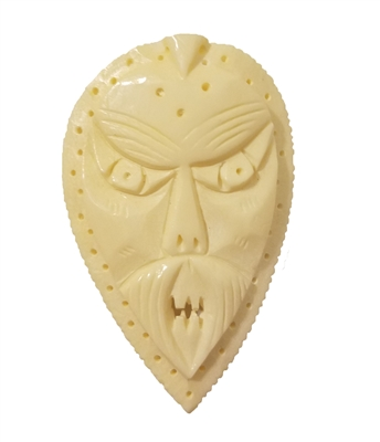 Large Tiki Mask Hand-Carved Genuine Bone Bead Pendant