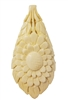 "3-1/4"" Flower Hand-Carved Genuine Bone Bead Pendant"