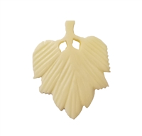 Broad Leaf Hand-Carved Genuine Bone Bead Pendant, 4 ct Bag