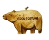 "Pig ""Good Fortune"" Hand-Carved Genuine Bone Bead Pendant"