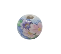 16mm Round Painted Floral Ceramic Beads 4ct Bag