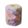 17mm Beveled Painted Floral Ceramic Beads 4ct Bag