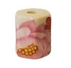 17mm Beveled Painted Rose Floral Ceramic Beads 4ct Bag
