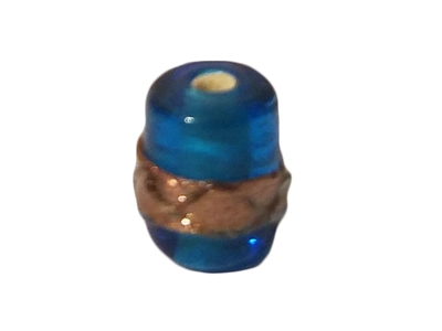10mm Barrel Turquoise & Gold Glass Beads, 4ct Bag