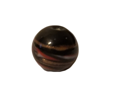 10mm Black, Red, White & Bronze Striped Glass Beads, 4ct Bag