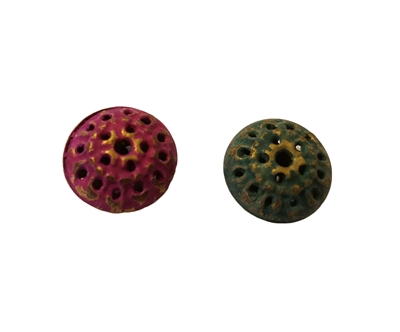 16mm Textured Metal Disc/Saucer Shaped Beads, 8 ct Bag