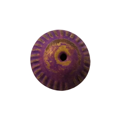 16mm Purple Fluted Metal Disc/Saucer Shaped Beads, 8 ct Bag