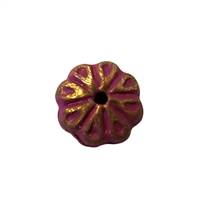 12mm Fuchsia & Gold Flower Embossed Metal Spacer Beads, 8 ct Bag