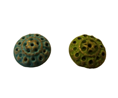 22mm Textured Gold Gilded Metal Disc/Saucer Shaped Beads, 4 ct Bag