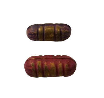 25mm Textured Grooved Metal Tube Beads, 4 ct Bag