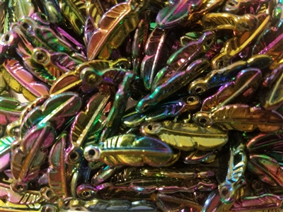 Iridescent Feather Plastic Charms, 144 ct Bag
