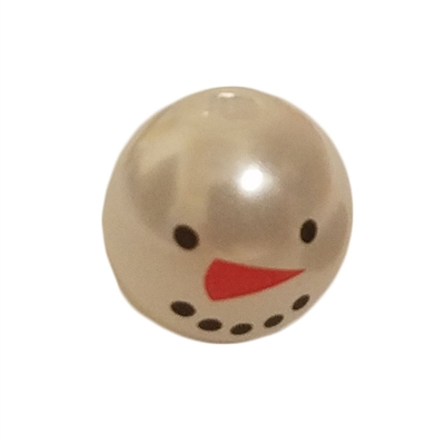10mm Snowman Head White Plastic Pearls Beads, 100 ct Bag