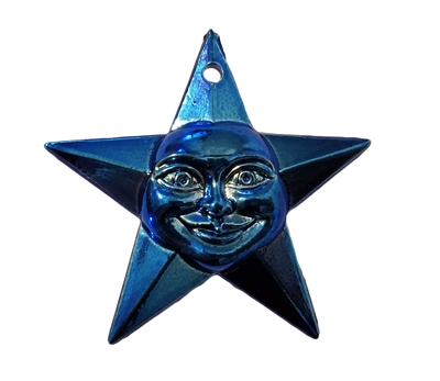 "2"" Star with Smiling Face Metallic Blue Plastic Craft Charm"