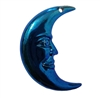 "2"" Crescent Man in the Moon Metallic Blue Plastic Craft Charm"
