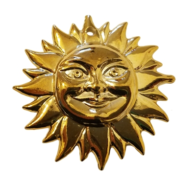 "2"" Smiling Sun Face Gold Plastic Craft Charm"