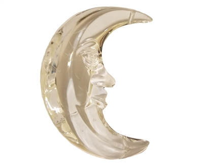 "3"" Clear Crescent Man in the Moon Acrylic Pendant Bead"