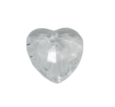18mm Clear Crystal Faceted Heart Acrylic Pendants, 4ct Bag