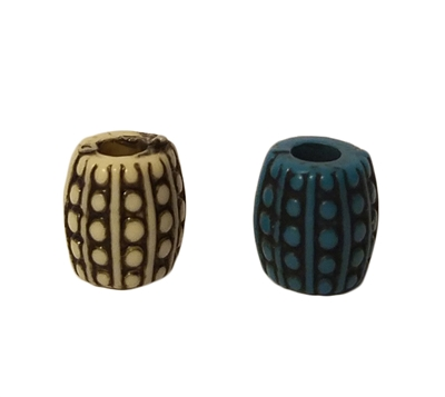 10MM Barrel Corrugated Dotted Pattern Plastic Beads, 12 Ct Bag
