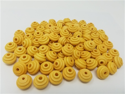 16mm Natural Grooved Plastic Beads, 50 ct bag