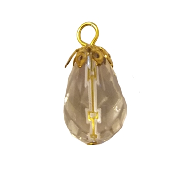 16mm Gold Filigree Capped Clear Crystal Faceted Teardrop Acrylic Pendants, 4ct Bag