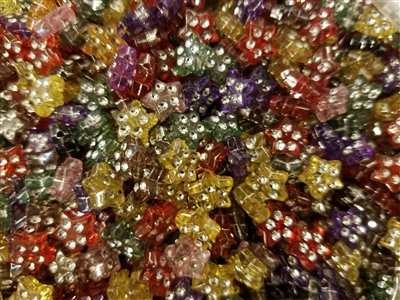 9mm Star Shaped Diamonettes Rhinestone Plastic Beads, 100 ct Bag